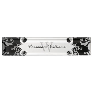 Elegant damask background monogram nameplate