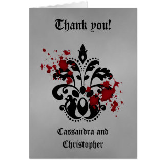 Elegant damask black and gray thank you card