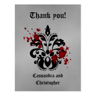 Elegant damask black and gray thank you postcard
