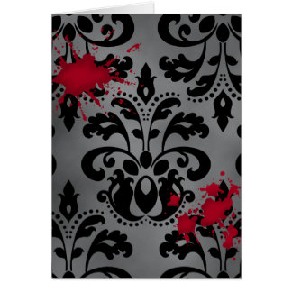 Elegant damask black and gray with blood Halloween Greeting Cards