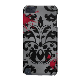 Elegant damask black and gray with blood Halloween iPod Touch 5G Cases
