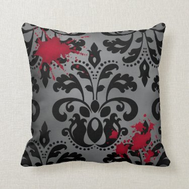 Elegant damask black and gray with blood Halloween Pillows