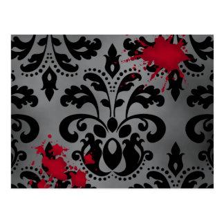 Elegant damask black and gray with blood Halloween Postcard