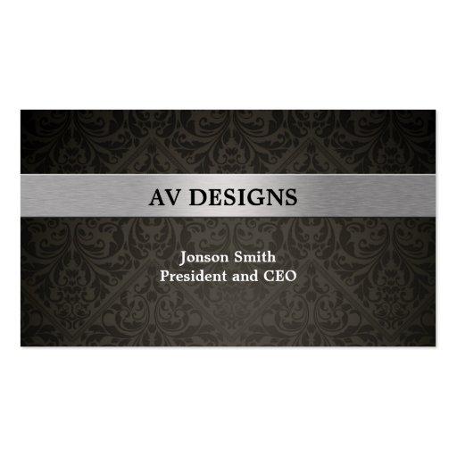 Elegant Damask Black and Silver Business Card