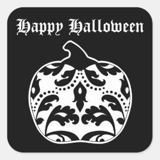 Elegant damask black and white Halloween pumpkin Square Sticker