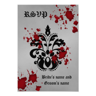 Elegant damask black gray Halloween rsvp wedding 3.5x5 Paper Invitation Card
