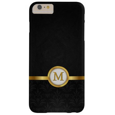 Elegant Damask & Black Leather with Gold Monogram Barely There iPhone 6 Plus Case