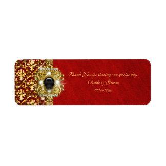 Elegant damask black red gold label