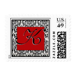 Elegant damask black, white and red - Initial K Postage Stamps