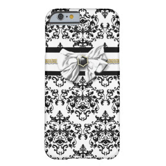 Elegant damask black white gold barely there iPhone 6 case