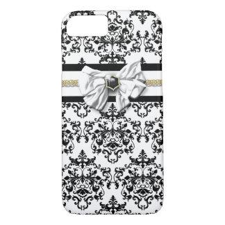 Elegant damask black white gold iPhone 8/7 case