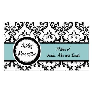 Elegant Damask Blue Mommy Calling Cards Business Card Templates