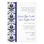 Elegant Damask Blue Stripe Wedding Invitation
