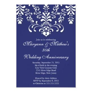 Elegant Damask Blue Wedding Anniversary Invitation