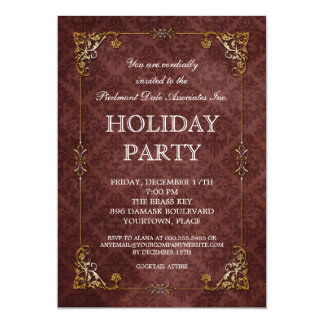 Elegant Damask Brass Frame Holiday Party Card