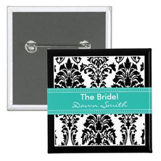 Elegant Damask Bridal Party Button (aquamarine)