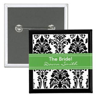 Elegant Damask Bridal Party Button (green)