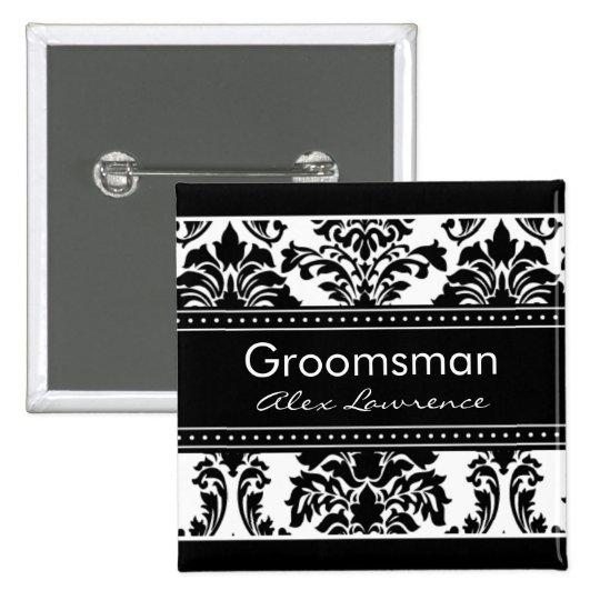 Elegant Damask Bridal Party Button - Groomsman