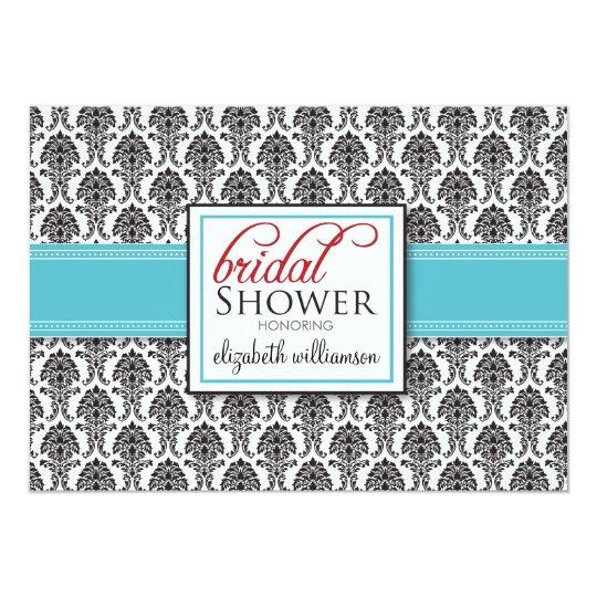Elegant Damask Bridal Shower Invitation (aqua/red)
