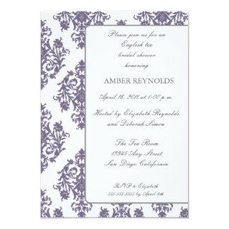 Elegant Damask Bridal Shower Invitation-eggplant Card