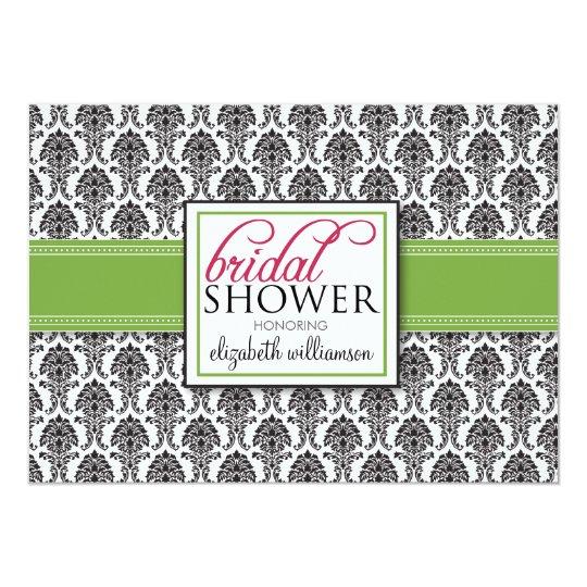 Elegant Damask Bridal Shower Invitation (lime)