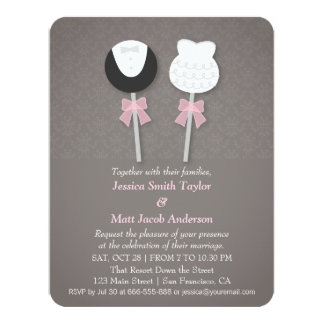 Elegant Damask Cake Pops Wedding Invitations