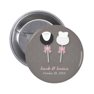 Elegant Damask Cake Pops Wedding Party Favors Button