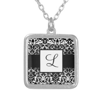 Elegant damask calligraphy design square pendant necklace