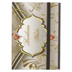 Elegant Damask Caramel Cream Beige Gold Amber 2 Ipad Air Cover at Zazzle