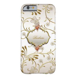 Elegant Damask Caramel Cream Beige Gold Amber Barely There iPhone 6 Case
