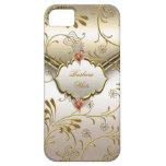 Elegant Damask Caramel Cream Beige Gold Amber Cover For iPhone 5/5S