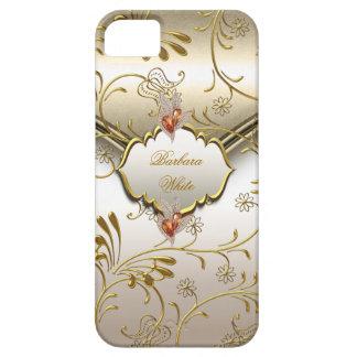 Elegant Damask Caramel Cream Beige Gold Amber iPhone 5 Case
