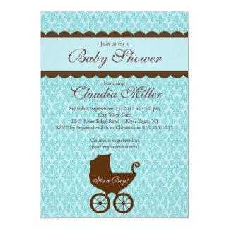 "Elegant Damask Carriage Boy Baby Shower Invitation 5"" X 7"" Invitation Card"