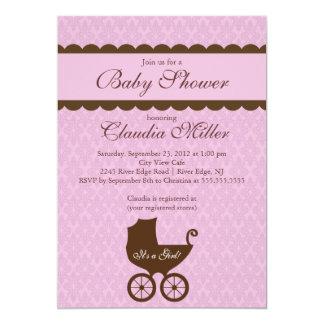 Elegant Damask Carriage Gir Baby Shower Invitation