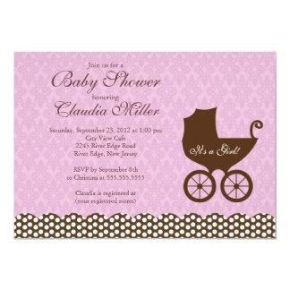 Elegant Damask Carriage Girl Baby Shower 5x7 Paper Invitation Card