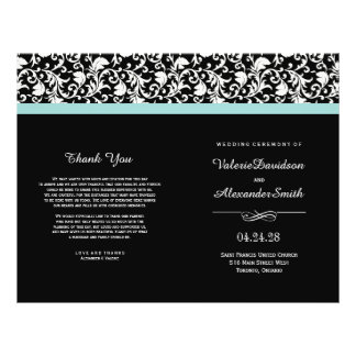 Elegant Damask Ceremony Wedding Programs
