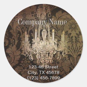 elegant damask chandelier Interior Designer Classic Round Sticker