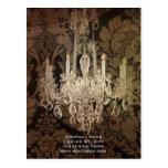elegant damask chandelier Interior Designer Postcard