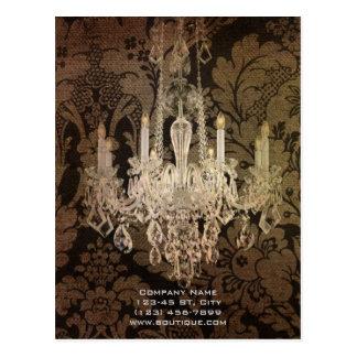 elegant damask chandelier vintage promotional post card