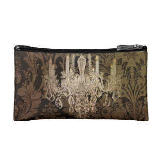 elegant damask chandelier vintage wedding cosmetic bags