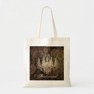 elegant damask chandelier vintage wedding tote bags
