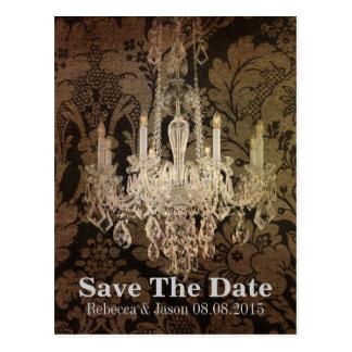 elegant damask chandelier vintage wedding postcard