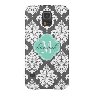 Elegant Damask Charcoal & Aqua Custom Monogrammed Galaxy S5 Cases