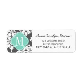 Elegant Damask Charcoal & Aqua Custom Monogrammed Label