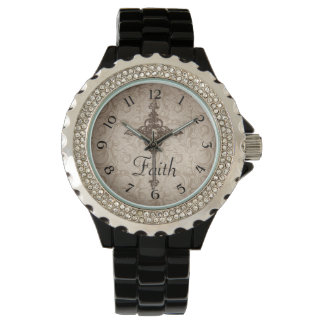 Elegant Damask Christian Cross Watch