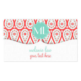 Elegant Damask Coral Paisley Gift Certificate Business Card Templates