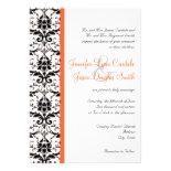 Elegant Damask Coral Stripe Wedding Invitation