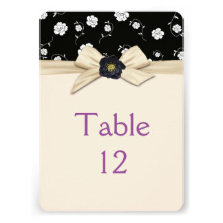 Elegant Damask Creamy Ribbon Ivory Table card