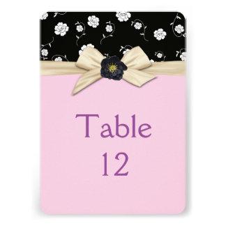 Elegant Damask Creamy Ribbon Table card