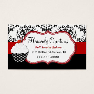 Home bakery business cards templates zazzle elegant damask cupcake bakery business card reheart Images